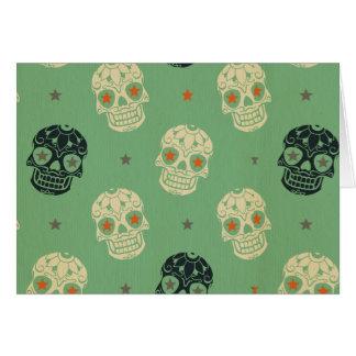 verde del mose, Halloween, modelo, cráneos, lindo, Tarjeta Pequeña