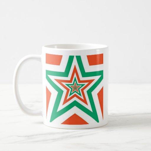 Verde del naranja del modelo de estrella taza de café