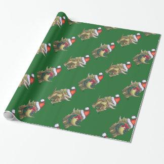Verde del navidad del Triceratops Papel De Regalo