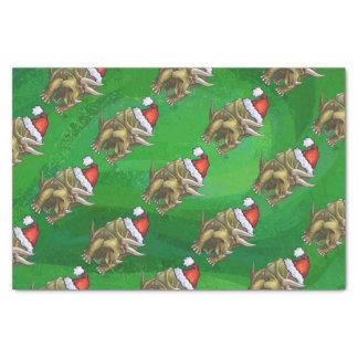 Verde del navidad del Triceratops Papel De Seda Pequeño