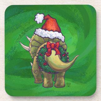 Verde del navidad del Triceratops Posavasos De Bebida
