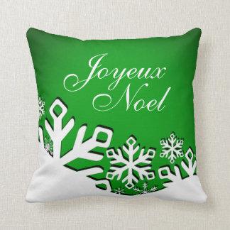 Verde del navidad el | de Joyeux Noel de la ciudad Cojín