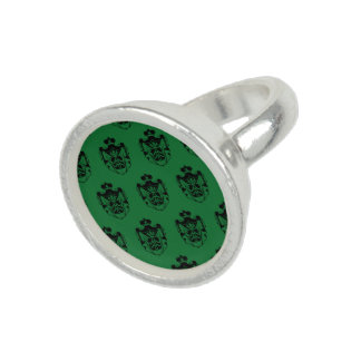 Verde del negro del escudo de la familia anillos con foto