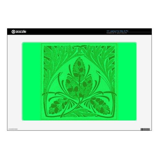 Verde del neón de la hoja floral del vintage skins para 38,1cm portátiles