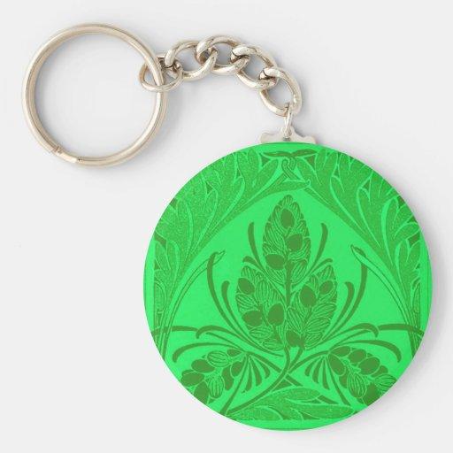 Verde del neón de la hoja floral del vintage llavero