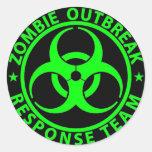 Verde del neón del equipo de la respuesta del etiqueta redonda