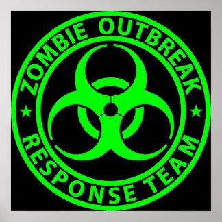 Verde del neón del equipo de la respuesta del póster