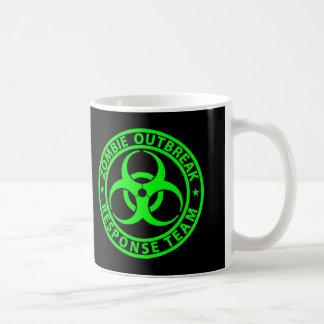 Verde del neón del equipo de la respuesta del tazas de café