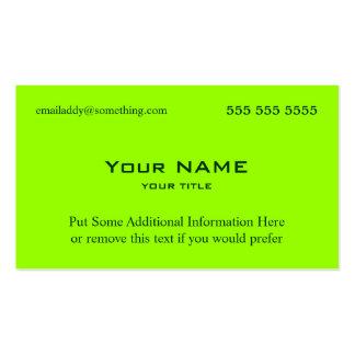 Verde del neón tarjetas de visita