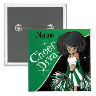 Verde del nombre el | del chica el | DIY de la Pin Cuadrado