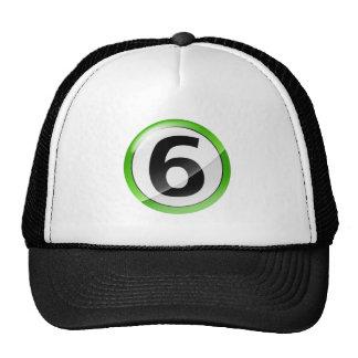 Verde del número 6 gorros
