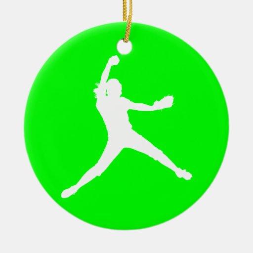 Verde del ornamento de la silueta de Fastpitch Ornaments Para Arbol De Navidad