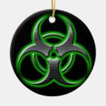 Verde del ornamento del Bio-Peligro Ornamentos De Navidad