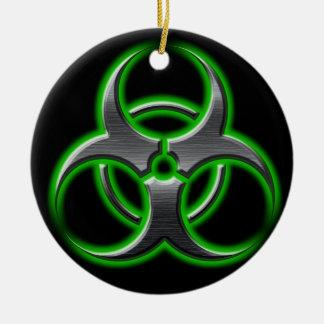 Verde del ornamento del Bio-Peligro Adorno Redondo De Cerámica