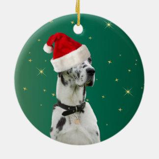 Verde del ornamento del día de fiesta del navidad adorno navideño redondo de cerámica