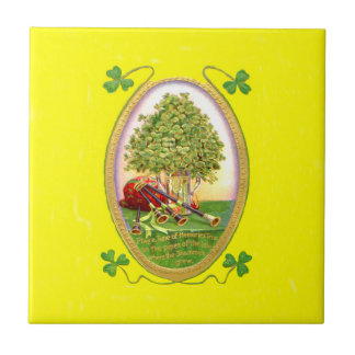 Verde del oro de las gaitas del trébol azulejo cuadrado pequeño