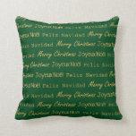 Verde del oro de Noel Navidad de la tipografía de Cojín