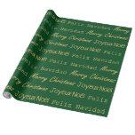 Verde del oro de Noel Navidad de la tipografía de Papel De Regalo