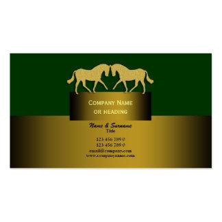 Verde del oro del márketing de negocio del caballo tarjetas personales