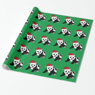 Verde del oso de panda del navidad papel de regalo