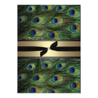 Verde del pavo real y invitación del boda del oro