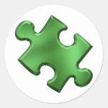 Verde del pedazo del rompecabezas del autismo pegatinas redondas