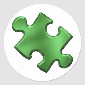Verde del pedazo del rompecabezas del autismo pegatina redonda