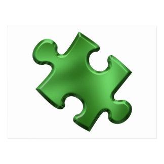 Verde del pedazo del rompecabezas del autismo tarjeta postal