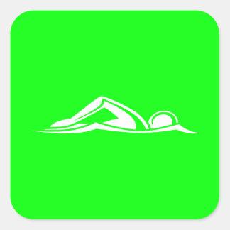 Verde del pegatina del logotipo de la nadada