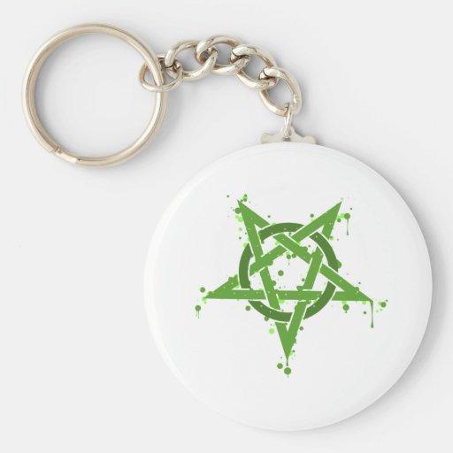 Verde del Pentagram Llaveros Personalizados