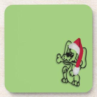 Verde del perro del navidad posavaso