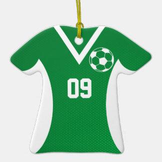 Verde del personalizable del jersey de fútbol ornamento de navidad