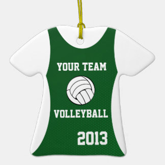 Verde del personalizable del jersey del voleibol adorno de cerámica en forma de camiseta