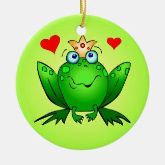 Verde del príncipe princesa Cartoon Frogs Hearts Adorno Navideño Redondo De Cerámica