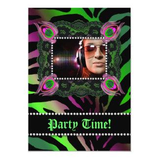 """Verde del rosa del cordón de la cebra de la fiesta invitación 5"""" x 7"""""""