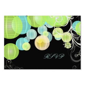 Verde del rsvp de PixDezines+laterns azules Invitacion Personalizada