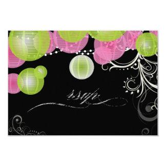 Verde del rsvp de PixDezines+linternas rosadas Anuncio Personalizado