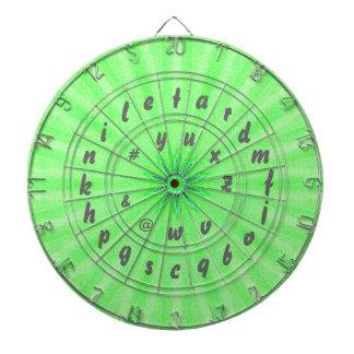 Verde del tablero de dardo del alfabeto del juego