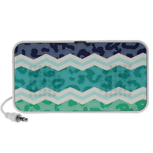 Verde del trullo, aguamarina, y leopardo azul Chev iPod Altavoz