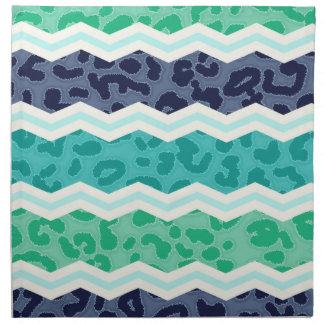 Verde del trullo, aguamarina, y leopardo azul Chev Servilleta De Papel
