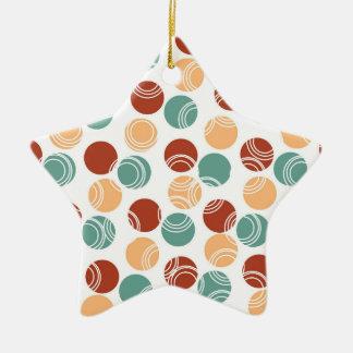 Verde del trullo, melocotón, lunares anaranjados adorno de cerámica en forma de estrella