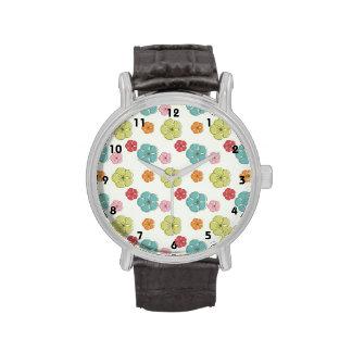 Verde del trullo, rojo, rosa, flores coloridas reloj de mano