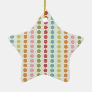 Verde del trullo, rojo, rosa, lunares anaranjados adorno de cerámica en forma de estrella