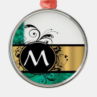Verde del trullo y monograma del oro adorno redondo plateado