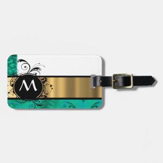 Verde del trullo y monograma del oro etiquetas de maletas