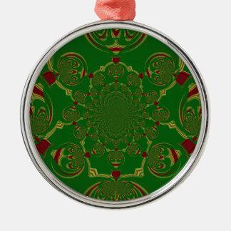 Verde del vintage adorno navideño redondo de metal