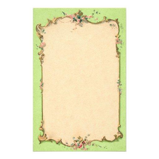 Verde del vintage con la frontera floral  papeleria