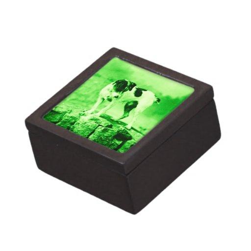 Verde del vintage de Jack Russell Terrier Caja De Joyas De Calidad