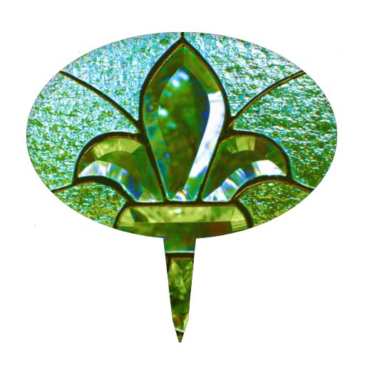 Verde del vitral de la flor de lis decoraciones de tartas