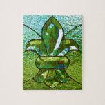 Verde del vitral de la flor de lis puzzle